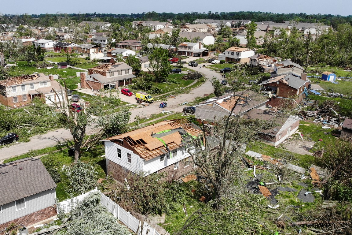 Tornado damage is seen at the Westbrooke Village Apartments in Trotwood, Ohio. Photo: AP