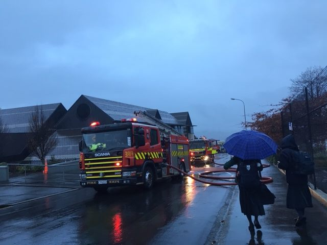 Fire appliances at Columba College this afternoon. Photo: Elena McPhee