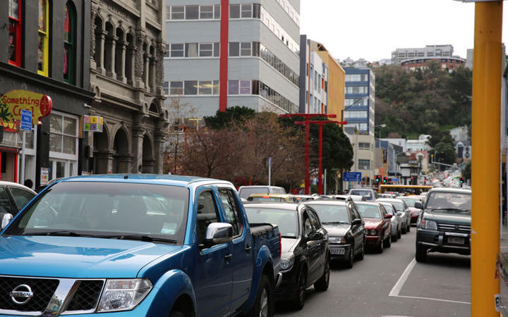 Traffic in central Wellington. Photo: RNZ