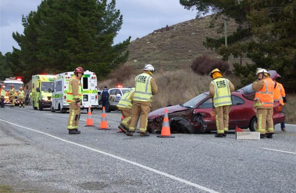Emergency services at the scene of a crash near Shingle Creek in 2015. Photo: ODT
