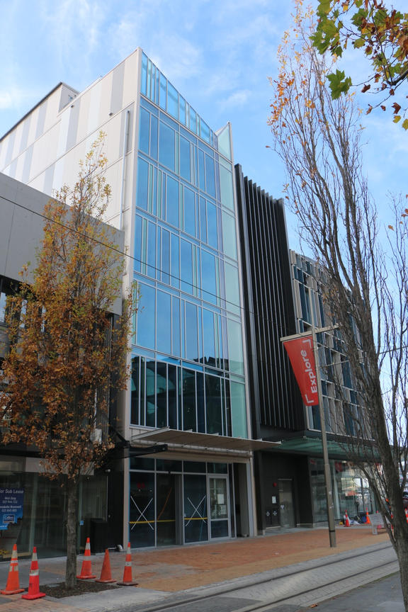 230 High Street Christchurch is the narrow, glass-fronted building in the centre. Photo: RNZ
