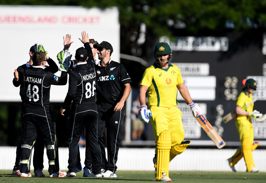 New Zealand players celebrate taking the wicket of Australia's Aaron Finch. Photo: Getty Images