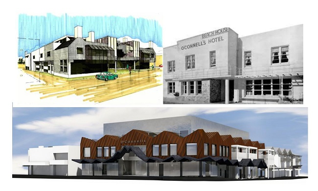 The O'Connells Pavilion through the years and a sketch of the revamped exterior