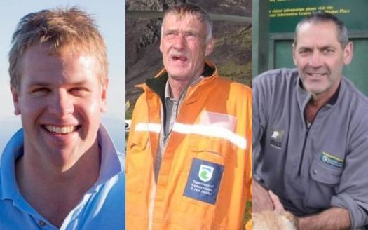 The three men who died in the helicopter crash near Wanaka Airport (from left) Nick Wallis, Paul...