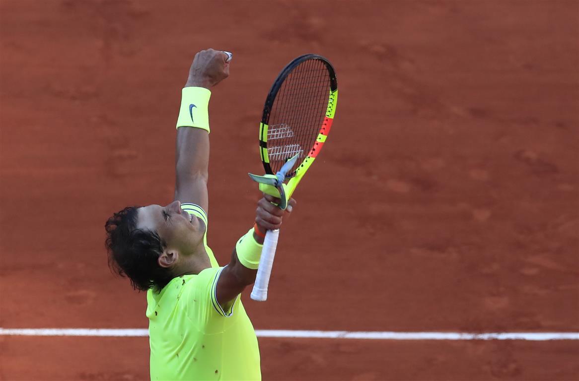 Rafael Nadal celebrates his win over David Goffin. Photo: Reuters
