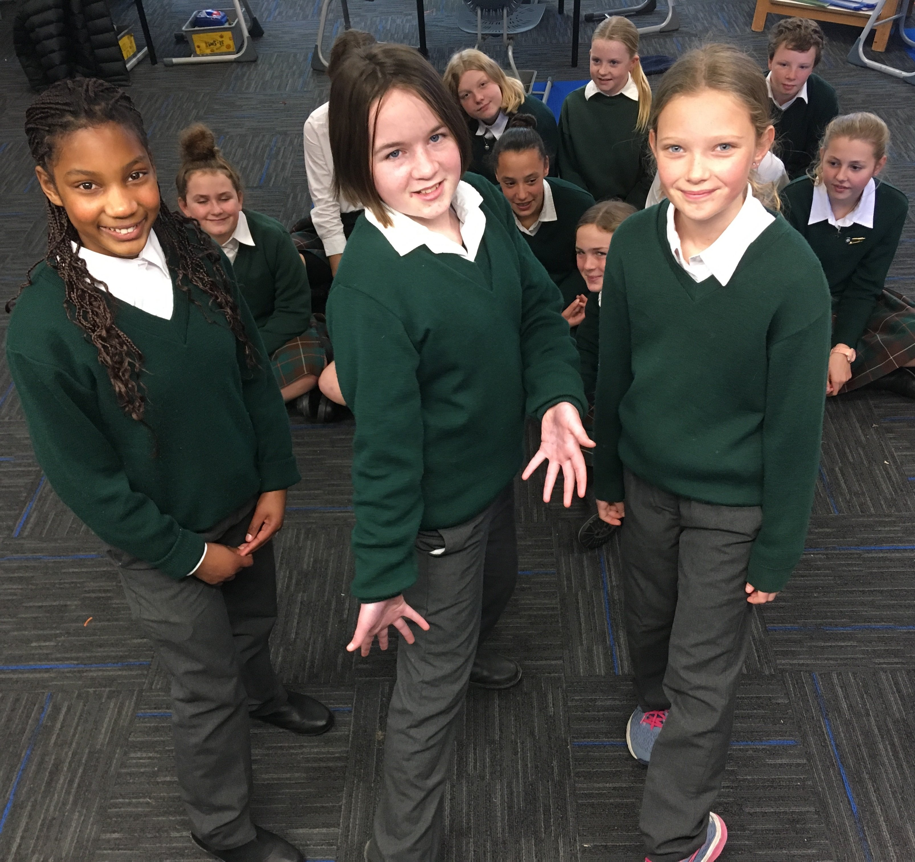 Modelling the school's new winter trousers option for girls are (from left) St Gerard's pupils Kimberley Dacosta (12), Dani Dowling (11) and Keira McFadyen (11). Photo: Adam Burns