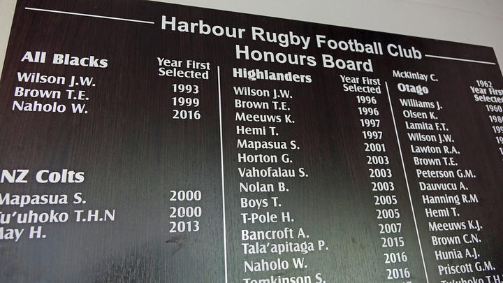 The honours board at Harbour Rugby Club. Photo: RNZ