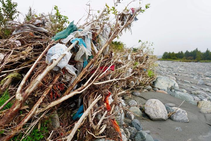 Rubbish trapped on trees and grasses in the Fox River area after the landfill burst. Photo:...