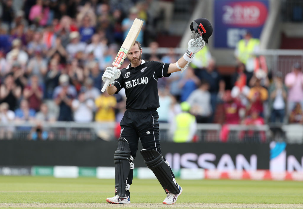 Kane Williamson celebrates reaching his century against the West Indies. Photo: Getty