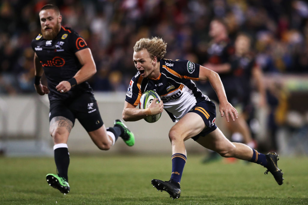 Joe Powell runs in to score for the Brumbies against the Sharks. Photo: Getty