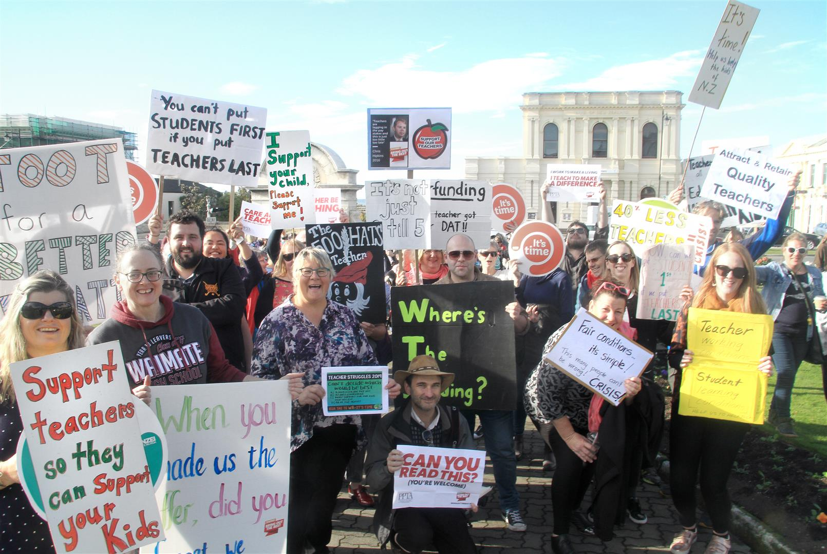 Oamaru: Staff from about 20 North Otago primary and secondary schools protest at George Jones...