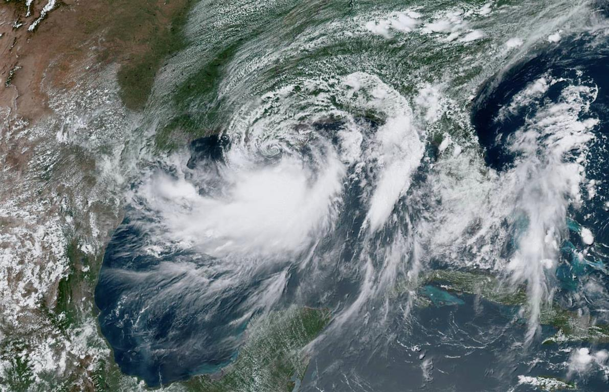 Tropical Storm Barry approaches the coast of Louisiana from the Gulf of Mexico in this July 12 ...