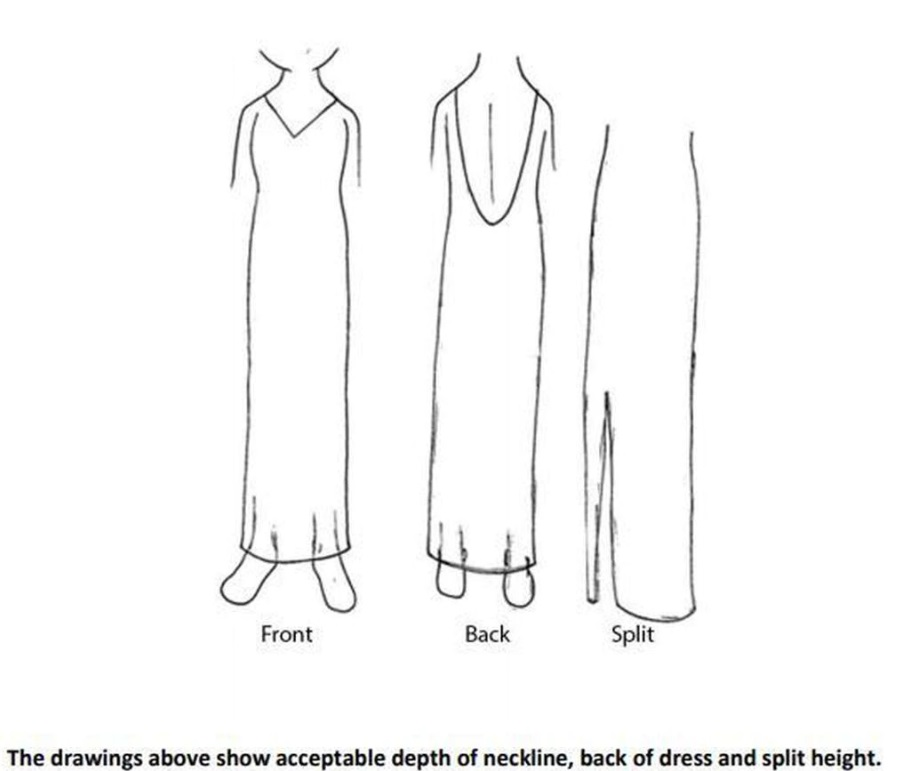 098f792577 Students must not show cleavage or have a high split in their dresses which  must not