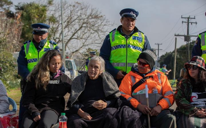 People continue to occupy Ihumātao after protesters were served an eviction notice. Photo: RNZ