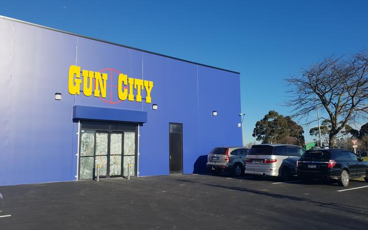 The Gun City mega store soon to be opened in Christchurch.Photo: RNZ