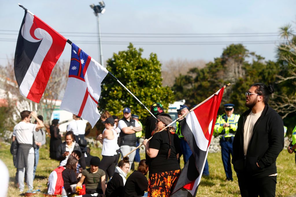 Police block access to Ihumātao as protesters fight a proposed Fletcher Building housing...