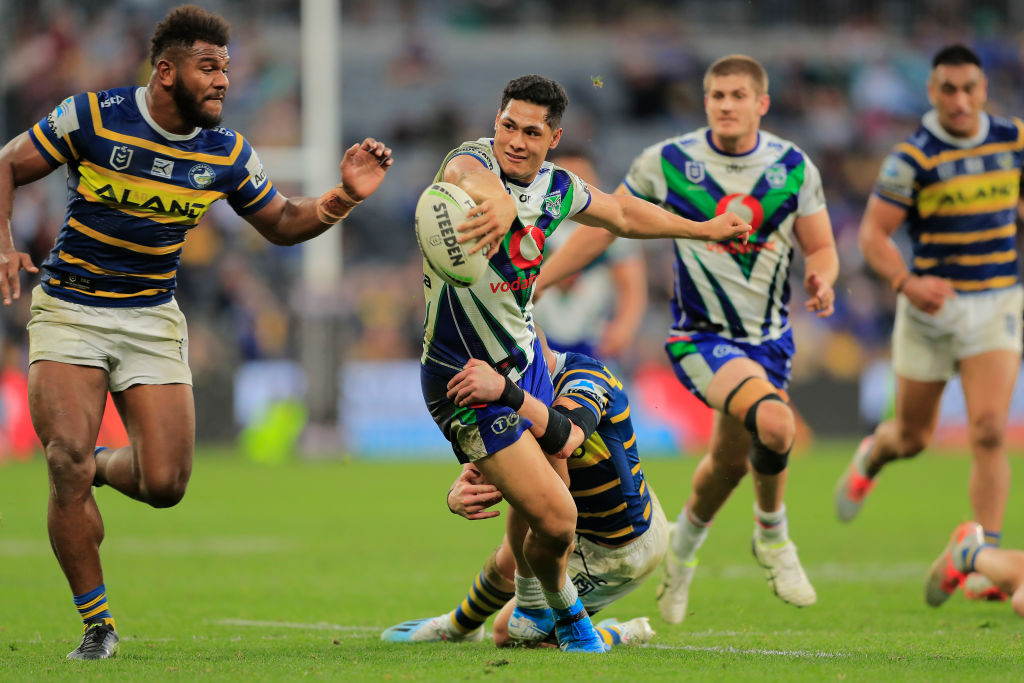 The Warriors' Roger Tuivasa-Sheck tries to offload the ball during the match against Parramatta....