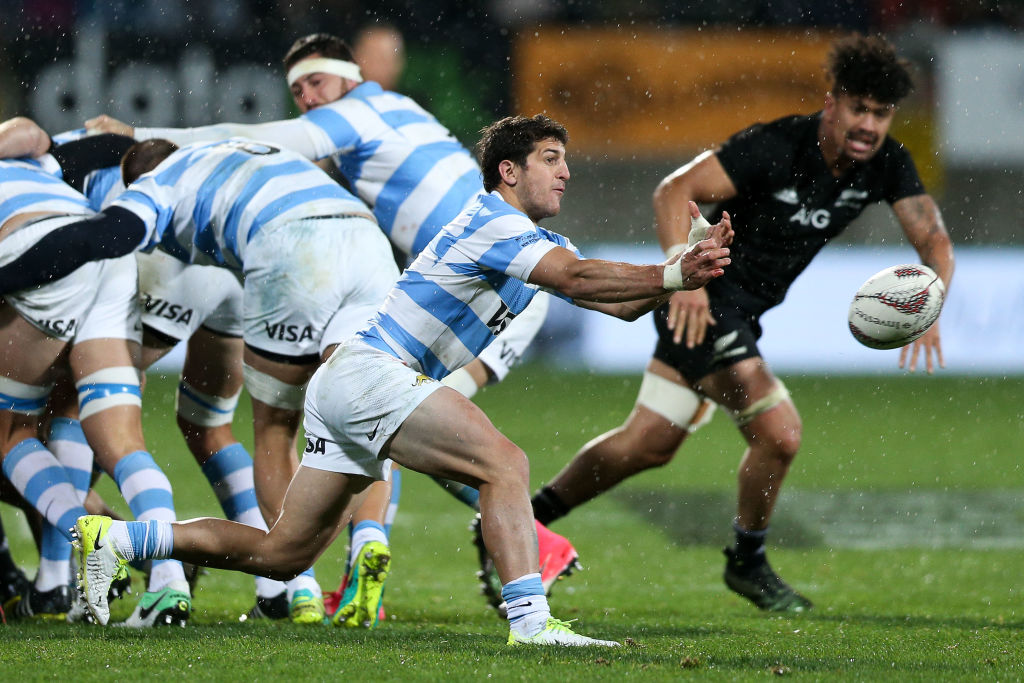 Tomas Cubelli in action for Argentina against the All Blacks in New Plymouth in September 2017....