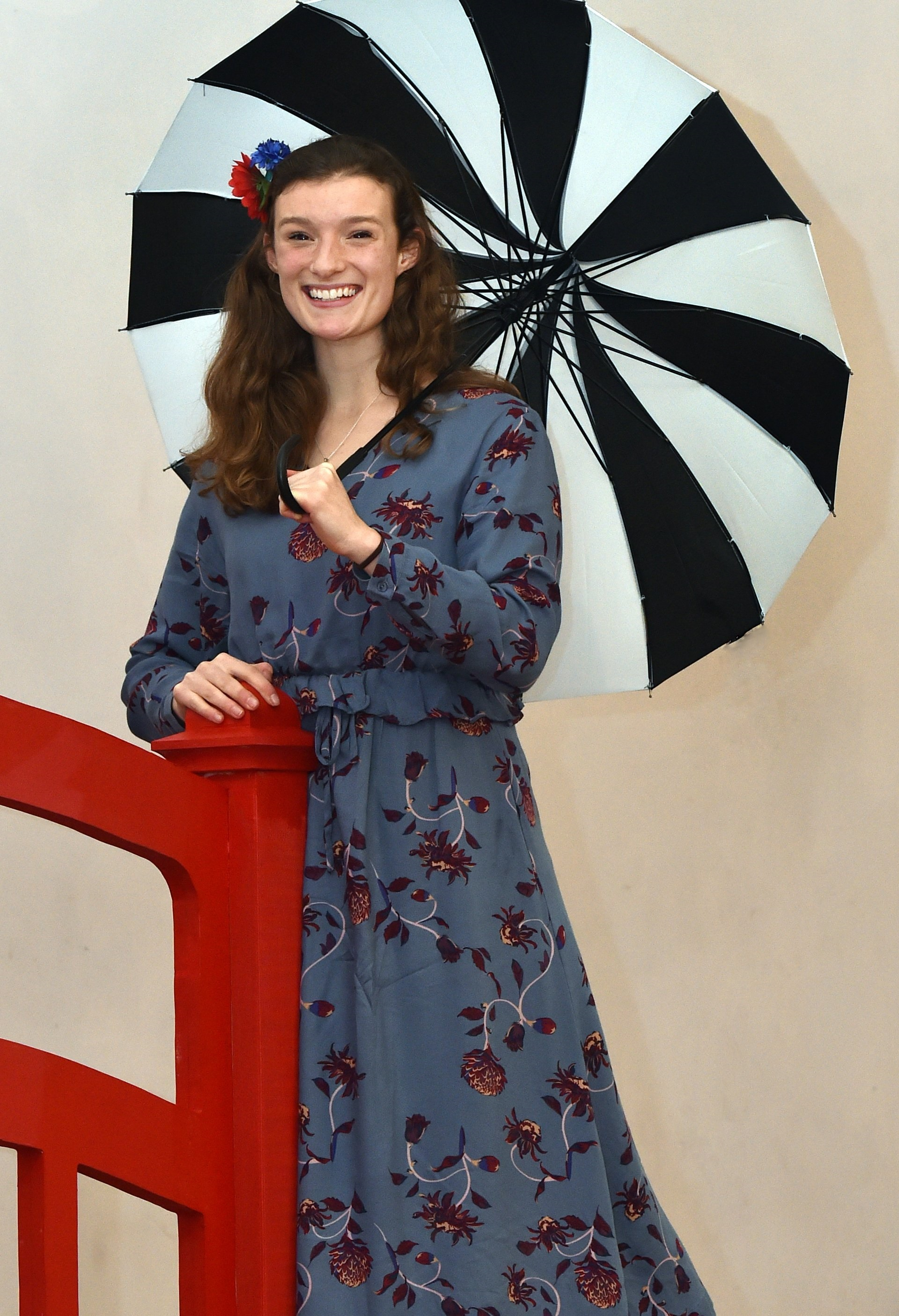 Kristina Saul  practises with her umbrella for her role in The Mikado. Photo: Peter McIntosh