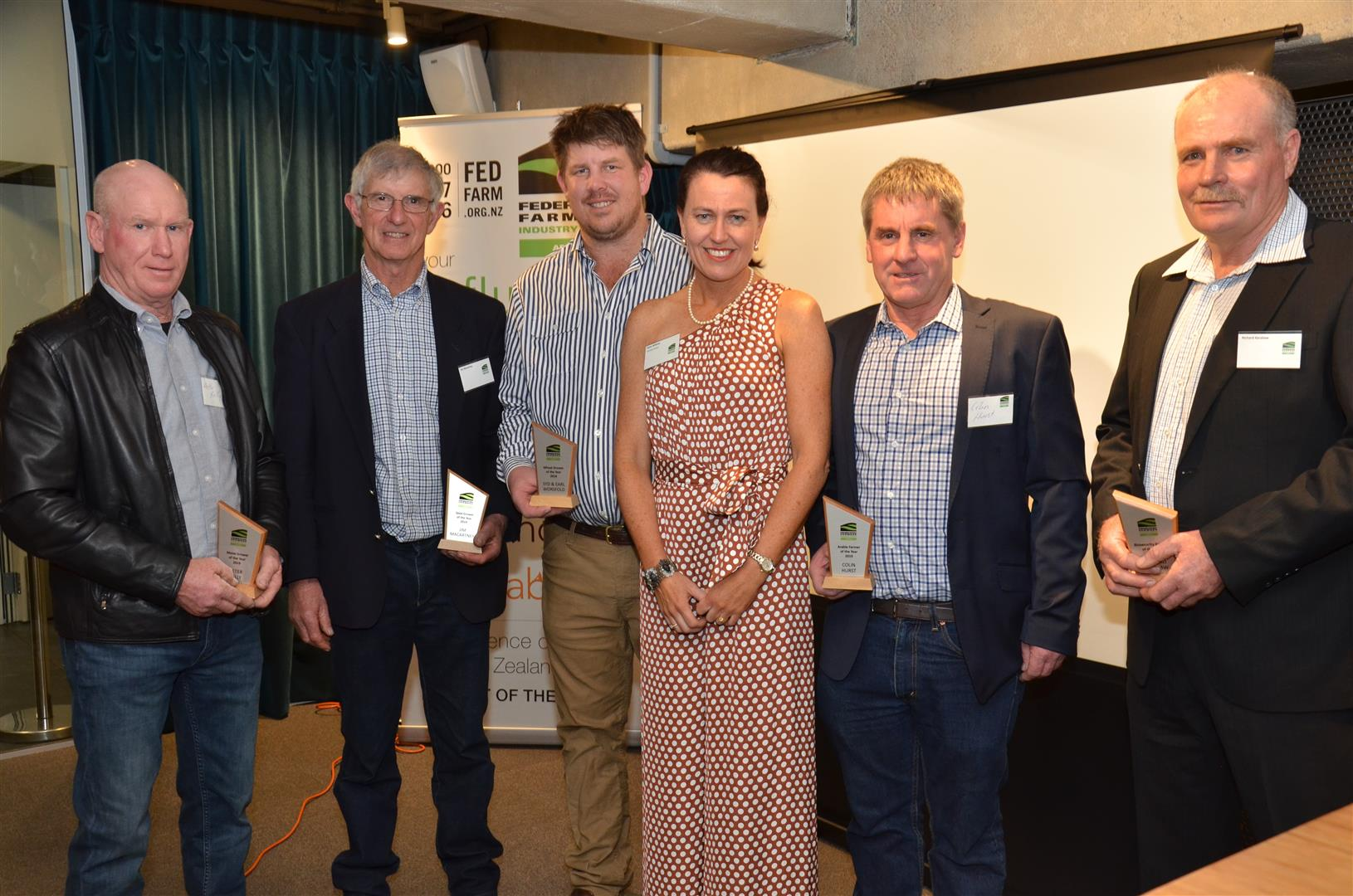 Winners at the Federated Farmers Arable Industry Group 2019 Awards (from left) Peter Kelly, Jim Macartney, Earl Worsfold, Colin Hurst and Richard Kershaw with arable group chairwoman Karen Williams. Photo: Supplied
