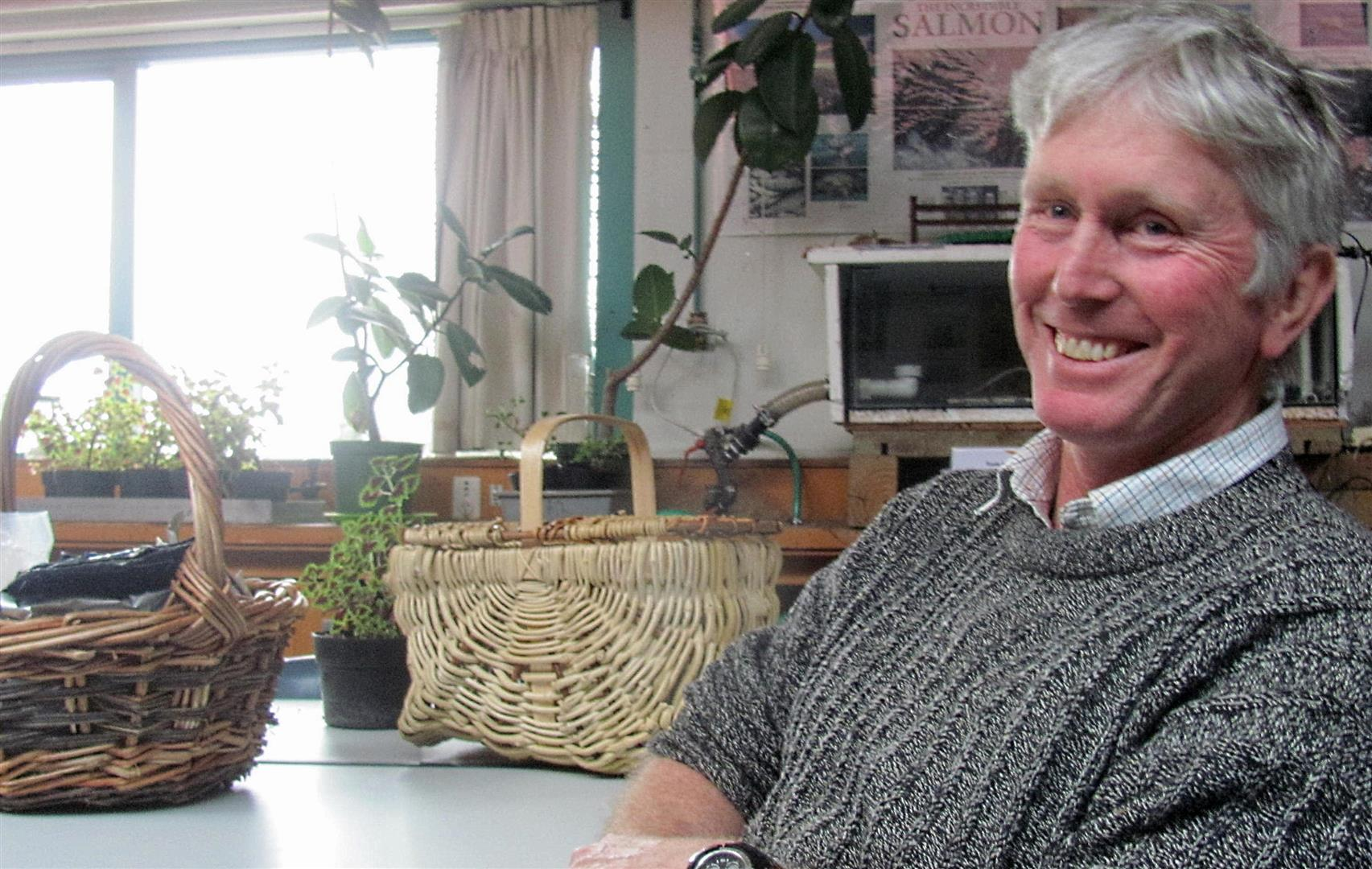 Stephen Millichamp, pictured with one of his woven baskets, still has Colieus plants grown from cuttings inherited from mid-1980s Ashburton College agriculture department head Ian McIvor. Photo: Toni Williams