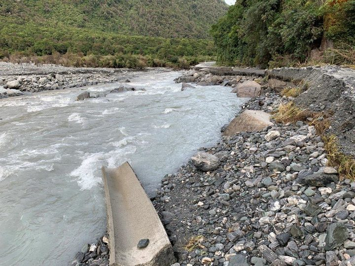 Damage to the Fox Glacier access road from a landslide in February. Photo: Supplied via RNZ