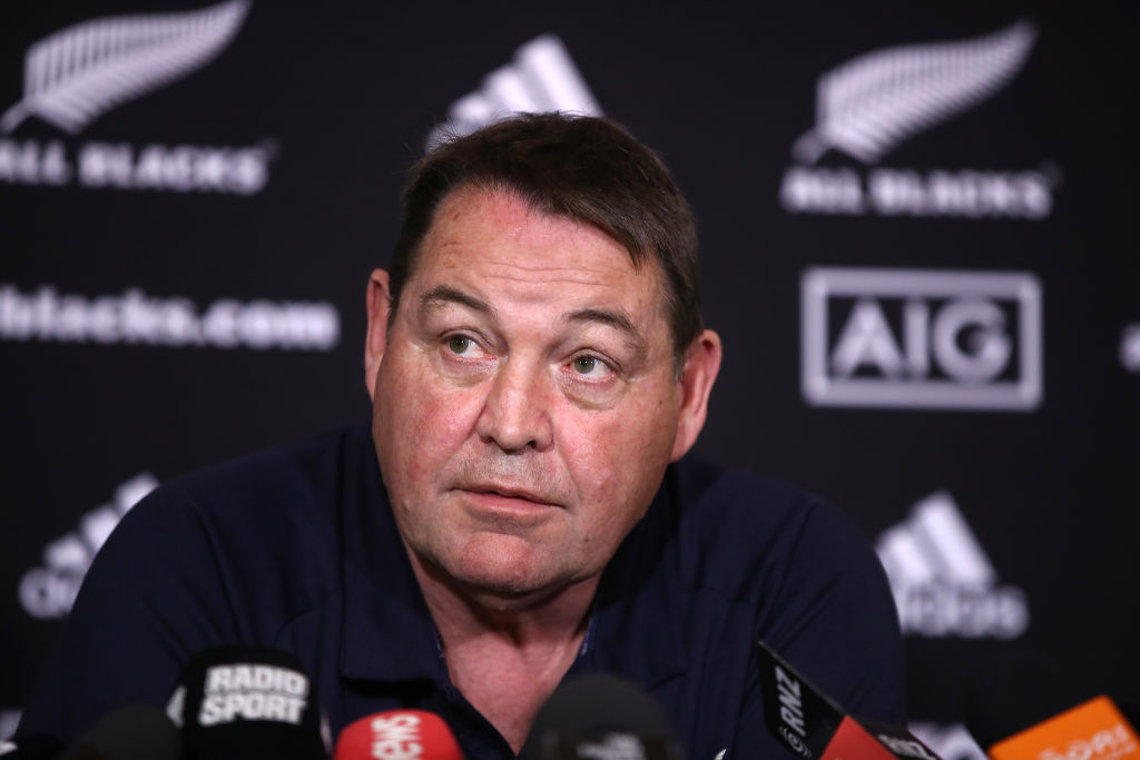 """Steve Hansen: """"Well, they're not playing, so you can say they've been dropped."""" Photo: Getty"""