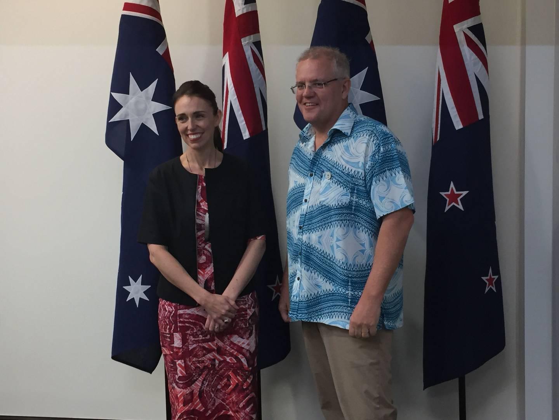 Jacinda Ardern meets with Australian PM Scott Morrison in Tuvalu. Photo: NZ Herald