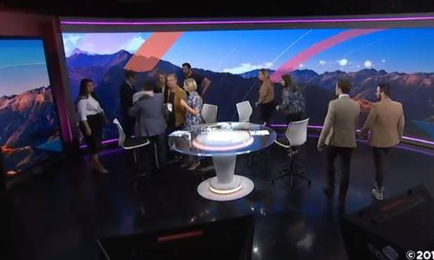 Faitaua's colleagues came to say farewell after he signed off. Photo: TVNZ