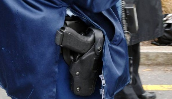 A police officer was injured on a training course after putting his pistol back in the holster....