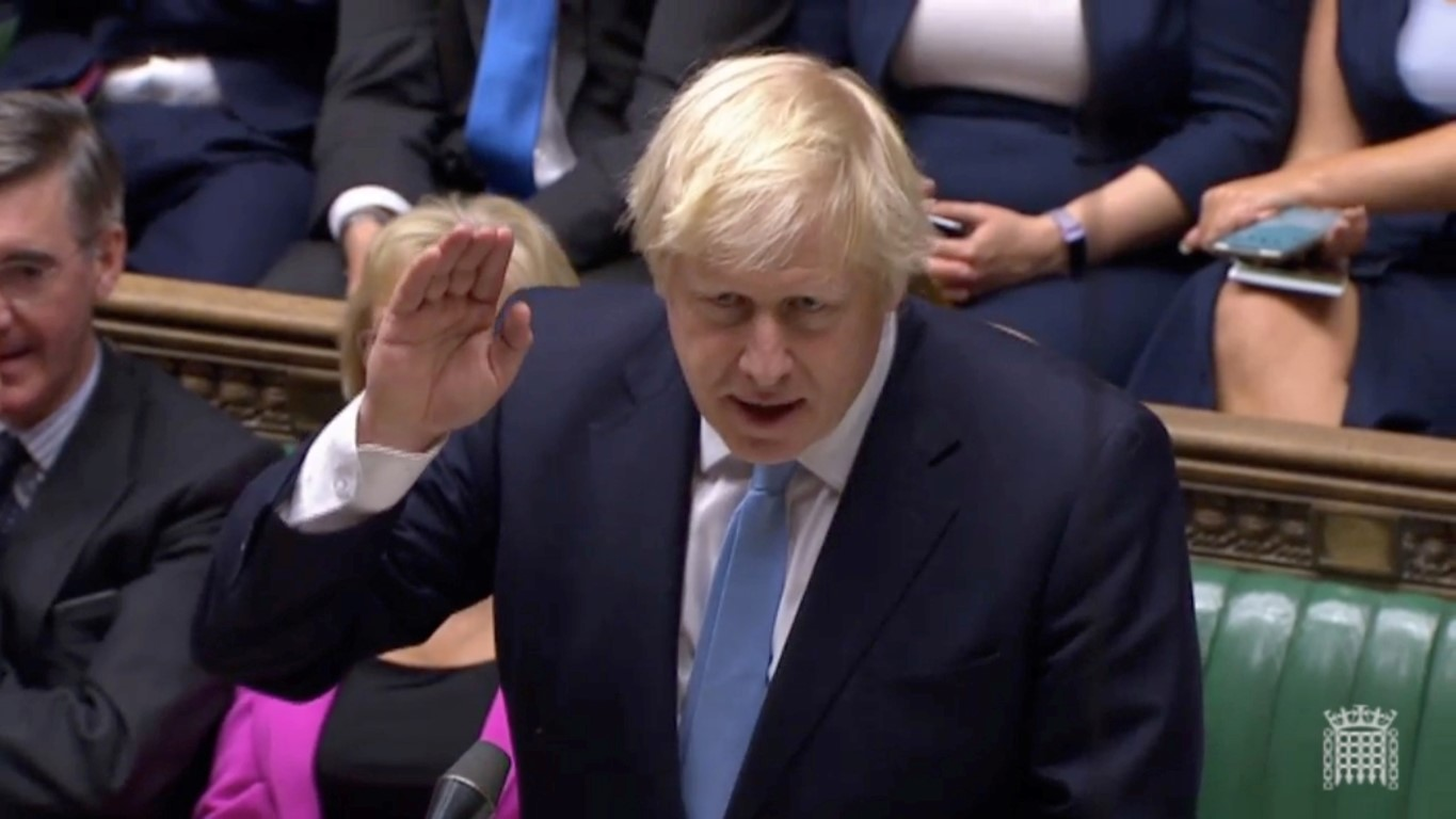 Britain's Prime Minister Boris Johnson speaks after the vote on whether to hold an early general...