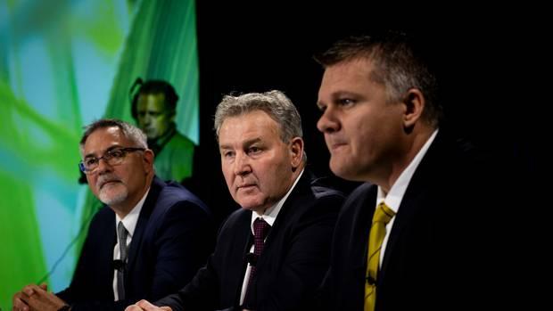 Fonterra CFO Marc Rivers, Chairman John Monaghan and CEO Miles Hurrell. Photo: NZ Herald