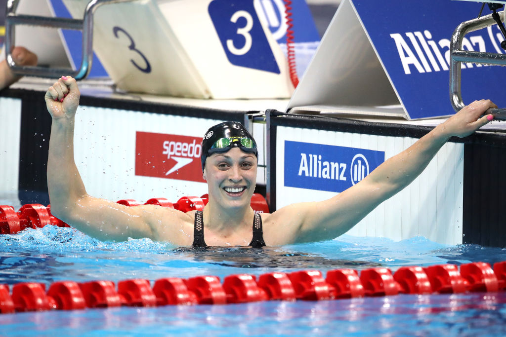 Sophie Pascoe celebrates winning the Women's 100m Butterfly S9 final at the 2019 World Para...