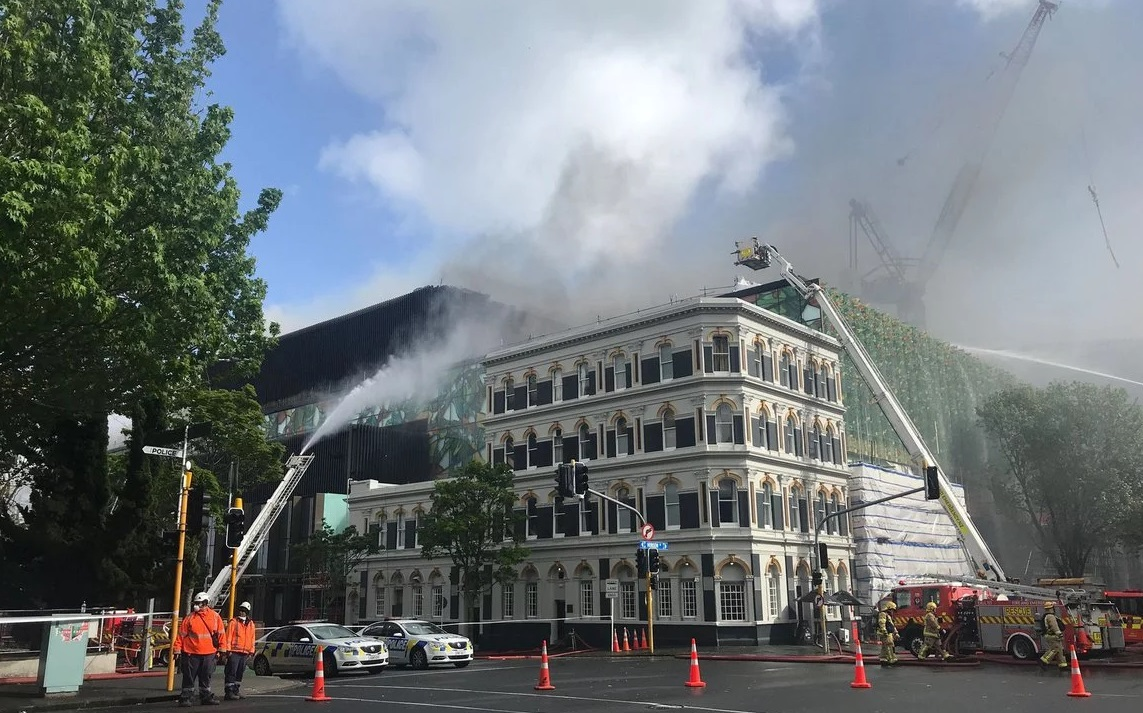 Crews battle the blaze on Wednesday morning. Photo: RNZ