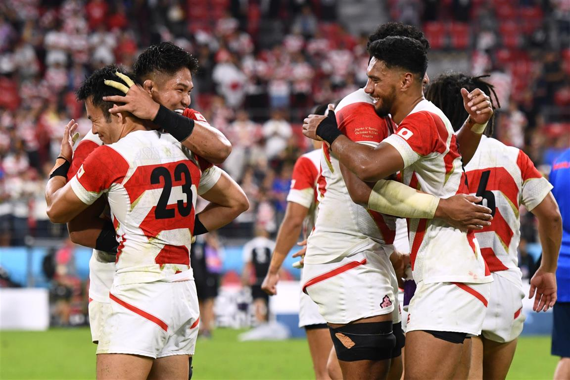 Japan players celebrate their victory over Samoa. Photo: Reuters