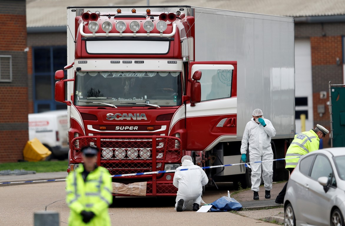 Police at the scene after the bodies were found. Photo: Reuters
