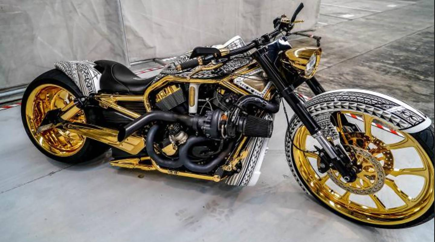 A gold-plated Harley Davidson seized by police in April. Photo: NZ Police