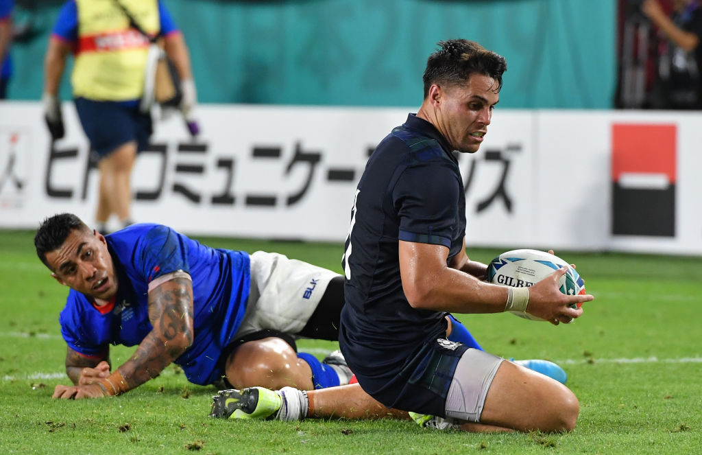 Sean Maitland crosses to score the first try for Scotland against Samoa. Photo: Getty Images