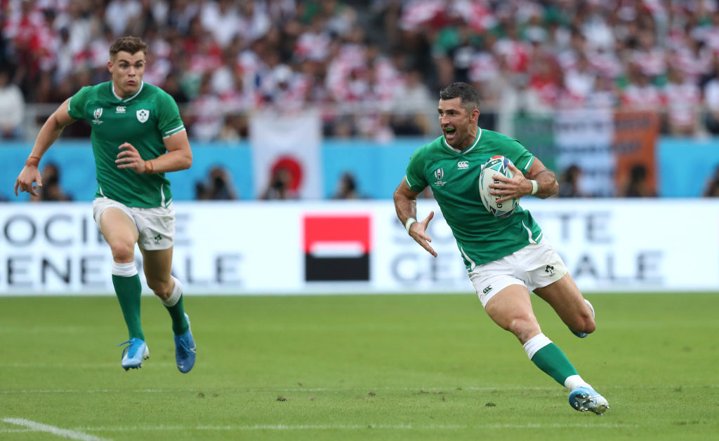 Ireland's Rob Kearney runs the ball up during their match against Japan. Photo: Getty