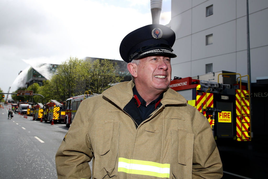Fire and Emergency's Auckland Regional Manager Ron Devlin speaks to media near the scene of the...