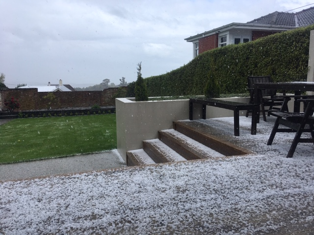 Hail in Highgate, in Dunedin, this afternoon. Photo: Supplied