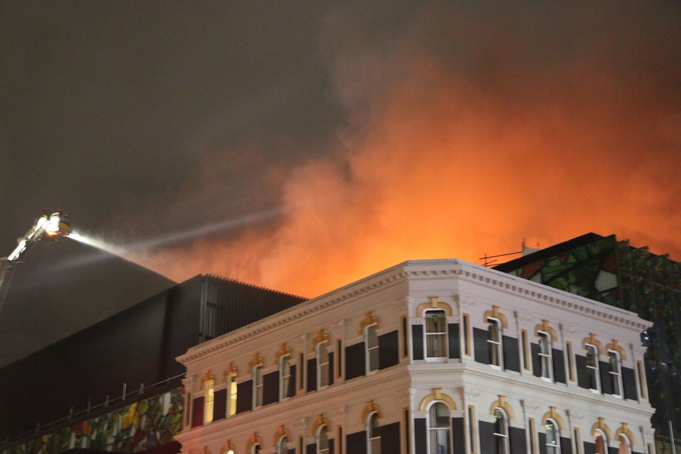 Flames were visible through the night as the fire continued to burn. Photo: RNZ