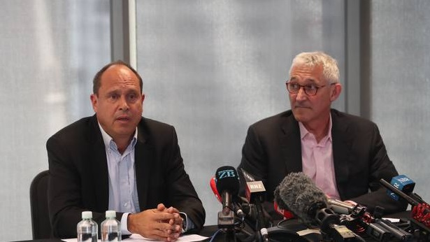 SkyCity CEO Graeme Stephens (left) and Ross Taylor, CEO of Fletcher Building Limited, at today's...