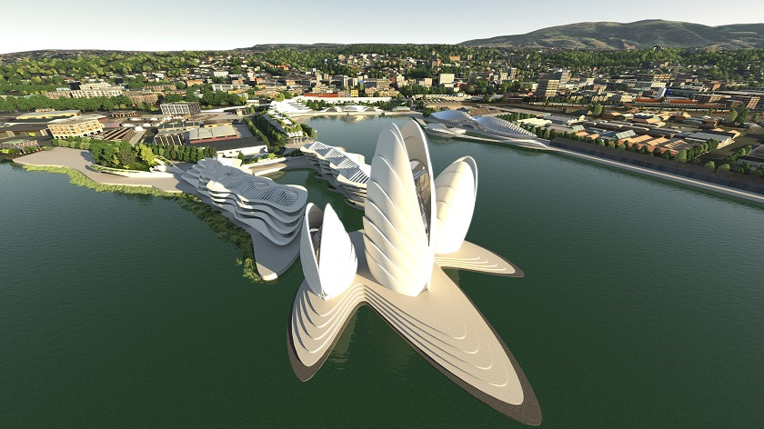 Architecture Van Brandenburg's proposal for the waterfront development. Image: Animation Research