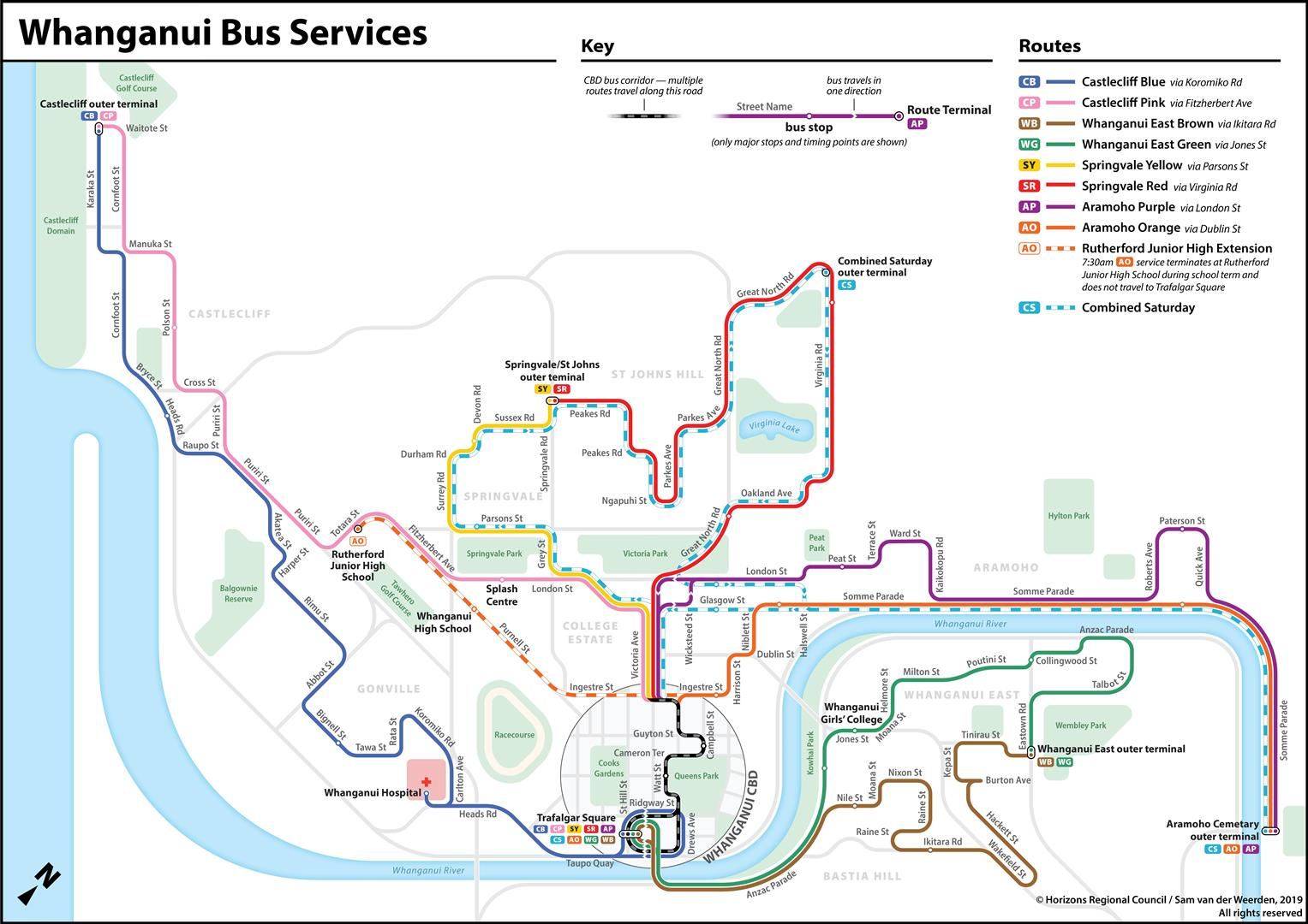 The map Sam van der Weerden developed for the Horizons Regional Council's Whanganui bus service. Graphic: Supplied