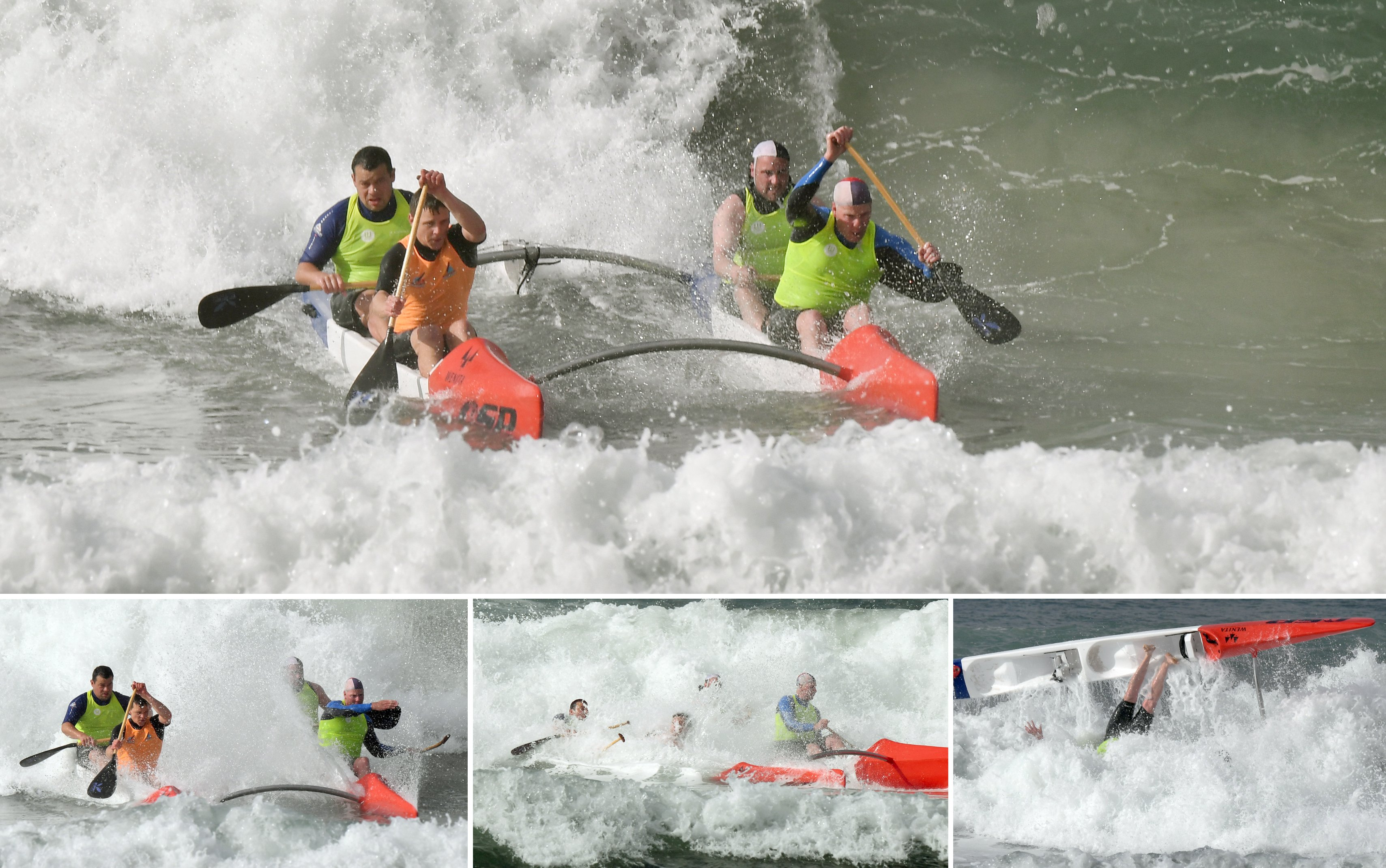 Warrington surf life-savers capsize during the return leg of the White Island Race last year....