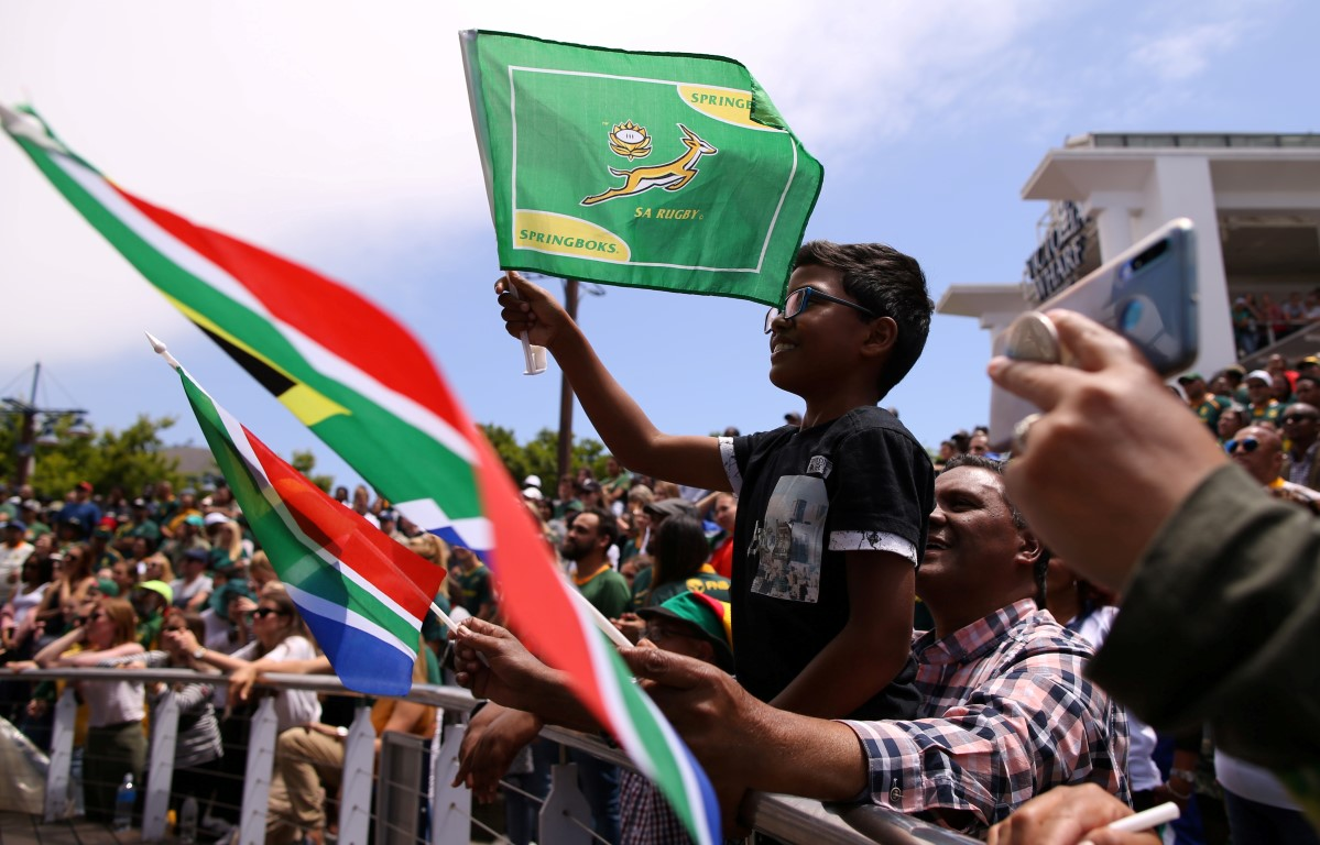 South Africa fans at a venue in Cape Town celebrate their team's World Cup victory. Photo: Reuters
