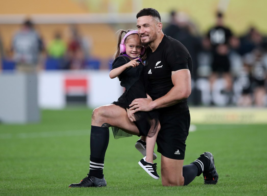 Sonny Bill Williams celebrates with his daughter after the All Blacks won the third-fourth...