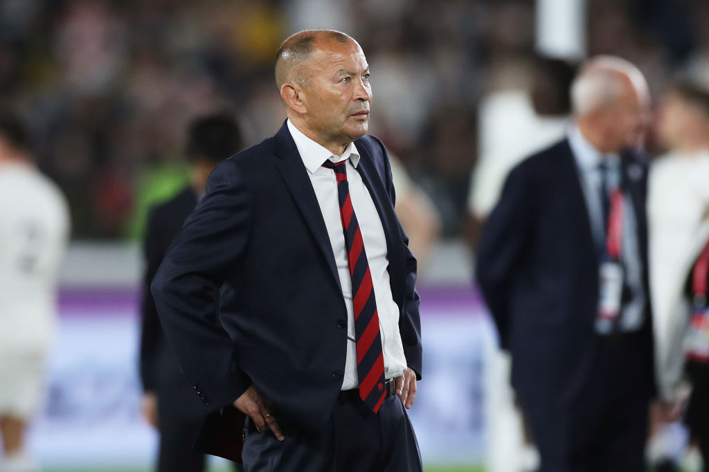 Eddie Jones watches proceedings after England's defeat in the Rugby World Cup final. Photo: Getty