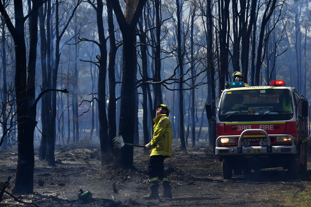 NSW Rural Fire Service firefighters mop up after a bushfire in the Sydney suburb of Llandilo....